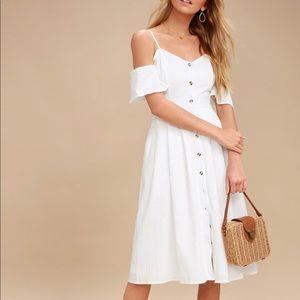 I've Got Love White Off-the-Shoulder Midi Dress
